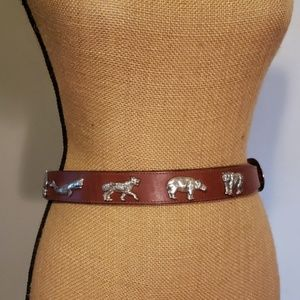Leather belt with silver animal details